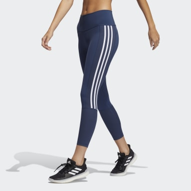 Women Training Blue Believe This 2.0 3-Stripes Ribbed 7/8 Tights