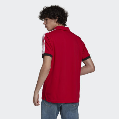 Men Football Red Manchester United 3-Stripes Polo Shirt