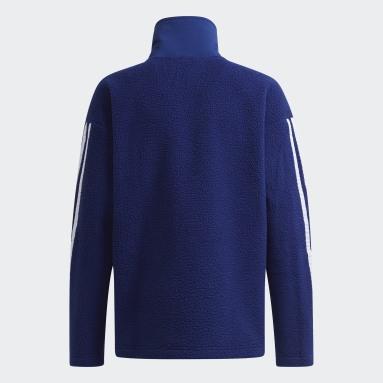 Boys Gym & Training Blue ARKD3 Warm 3-Stripes Fleece Track Top