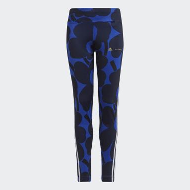 Tight da allenamento Marimekko Primegreen AEROREADY 3-Stripes Floral Blu Ragazza Fitness & Training
