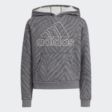Youth Training Grey Allover Print Fleece Hoodie