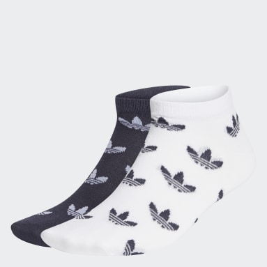 Originals Blue Trefoil Allover Print Liner Socks 2 Pairs