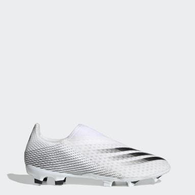 Fodbold Hvid X Ghosted.3 Laceless Firm Ground støvler