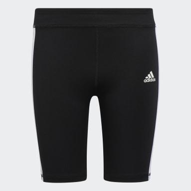Youth Cycling Black 3-Stripes Classic Bike Shorts