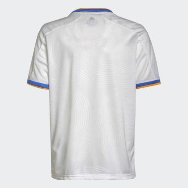 เด็กผู้ชาย ฟุตบอล สีขาว เสื้อฟุตบอลชุดเหย้า Real Madrid 21/22