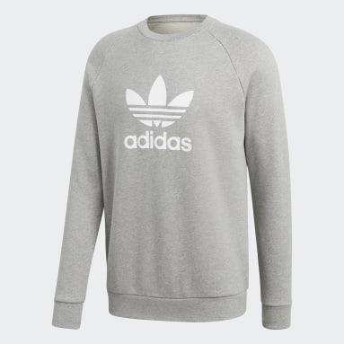 Men Originals Grey Trefoil Warm-Up Crew Sweatshirt