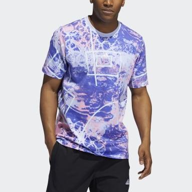 ผู้ชาย บาสเกตบอล สีม่วง เสื้อยืดย้อนยุคพิมพ์ลายทั้งตัว