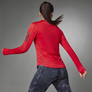 T-shirt Own the Run Long Sleeve Rouge Femmes Running