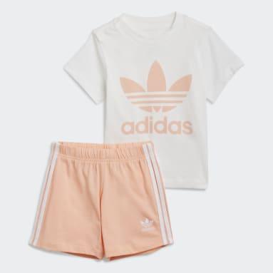Kids Originals White Trefoil Shorts Tee Set