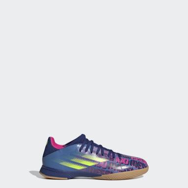 Calzado de Fútbol X Speedflow Messi.3 Cancha Cubierta Azul Niño Fútbol