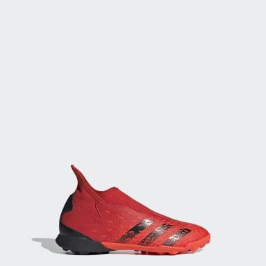 Children Soccer Red Predator Freak.3 Laceless Turf Shoes