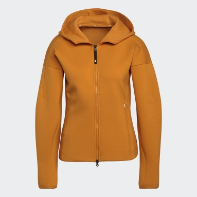 Ženy Sportswear oranžová Mikina skapucňou adidas Z.N.E. Sportswear