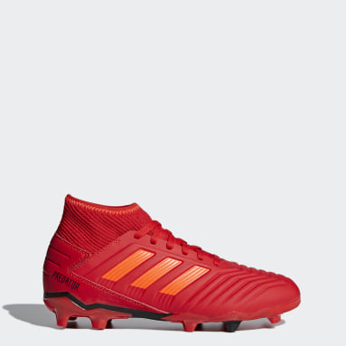 Calzado de Fútbol Predator 19.3 Terreno Firme (UNISEX) Rojo Niño Fútbol