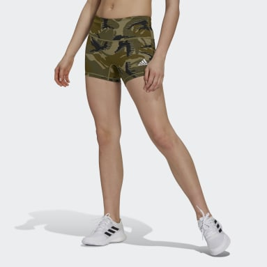 Women's Volleyball Green 4-Inch Camo Short Tights