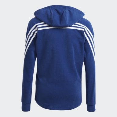Future Icons Primegreen Polar Fleece 3-Stripes Full-Zip Hettegenser Blå