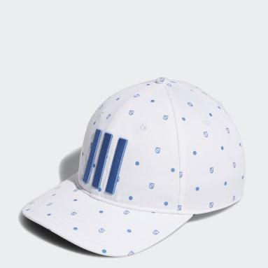 ผู้ชาย กอล์ฟ สีขาว หมวกแก๊ปพิมพ์ลายโล่ทั้งใบ
