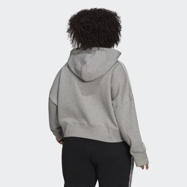 Sweat-shirt à capuche Adicolor Classics Cropped (Grandes tailles) gris Femmes Originals