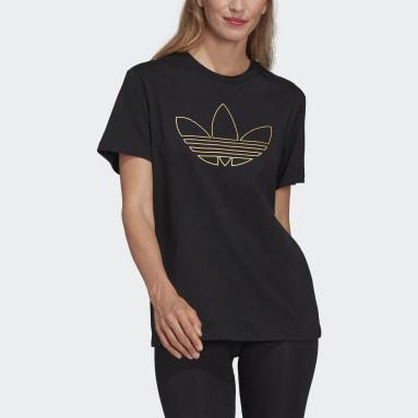 Women's Originals Black Tee with Golden Trefoil Print