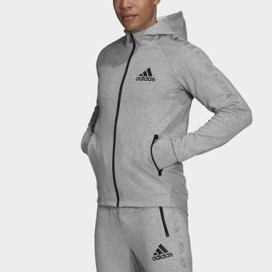 Muži Cvičení A Trénink šedá Mikina AEROREADY Designed to Move Sport Motion Logo