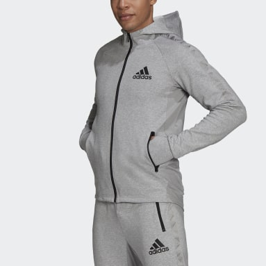 Sudadera con capucha AEROREADY Designed To Move Sport Motion Logo Gris Hombre Gimnasio Y Entrenamiento