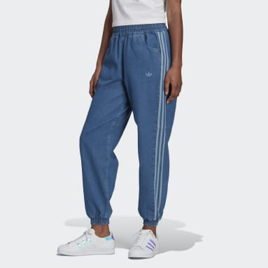 Women Originals Blue Adicolor Denim Relaxed Pants