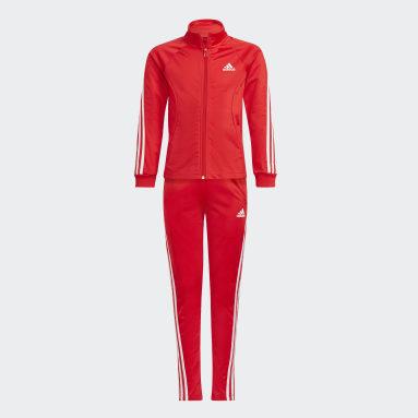 Survêtement Team Polyester Regular 3-Stripes Rouge Filles Fitness Et Training
