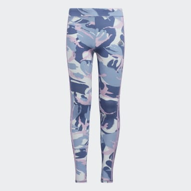 Youth Training Blue Allover Print Heather 3-Stripes Tights