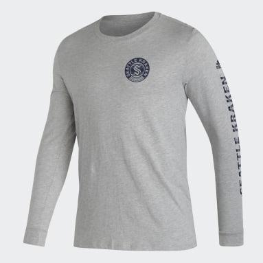 Men's Hockey Grey Kraken Long Sleeve Tee