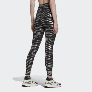 Women Running Black adidas by Stella McCartney Training Metallic Print Tights