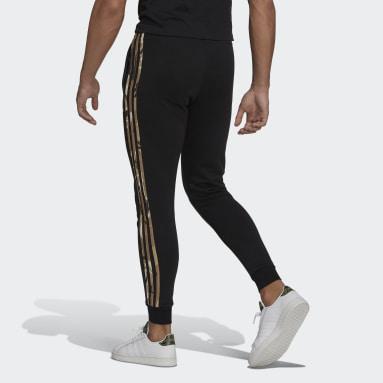 Men Sportswear Black Essentials Fleece Camo-Print Joggers