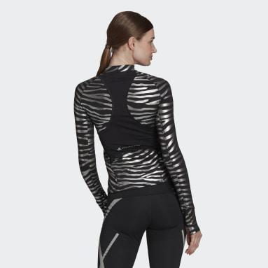 Women Training Black adidas by Stella McCartney Training Long Sleeve Metallic Print Tee