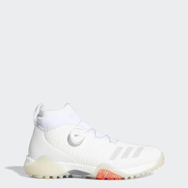 ผู้หญิง กอล์ฟ สีขาว รองเท้ากอล์ฟทรงมิดคัทแบบไร้ปุ่ม Codechaos BOA
