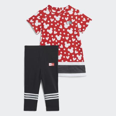เด็กผู้หญิง เทรนนิง สีแดง ชุด Disney Minnie Mouse สำหรับหน้าร้อน
