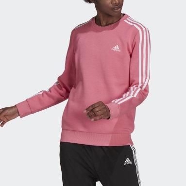 Essentials 3-Stripes Fleece Genser Rosa