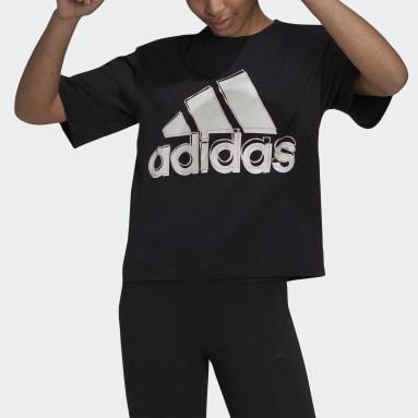 Women Sport Inspired Black Big Logo Tee