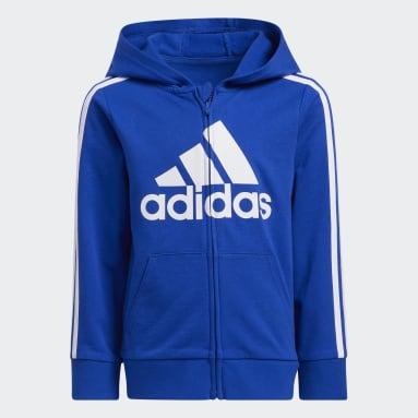 Children 4-8 Years Training Blue Badge of Sport Hooded Jacket Set