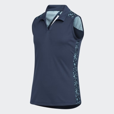 Meisjes Golf Blauw Printed Racerback Sleeveless Poloshirt