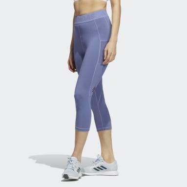 Women Running Purple Techfit 3/4 Tights