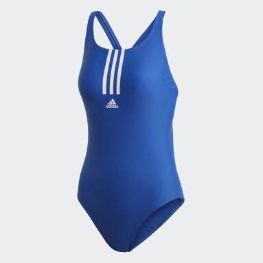 Frauen Schwimmen adidas SH3.RO Mid 3-Streifen Badeanzug Blau