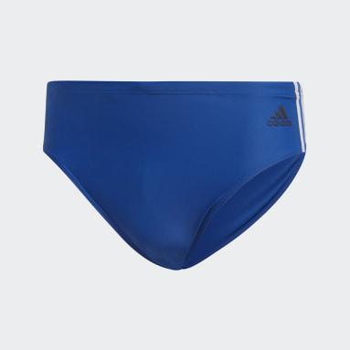 Men Swimming Blue Fitness 3-Stripes Swim Trunks