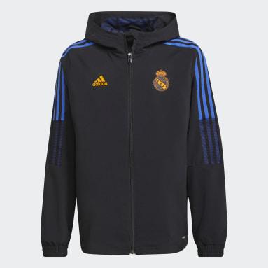 Kids Football Black Real Madrid Tiro Presentation Jacket