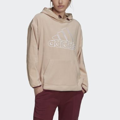 Women's Essentials Pink Brand Love Giant Logo Polar Fleece Hoodie