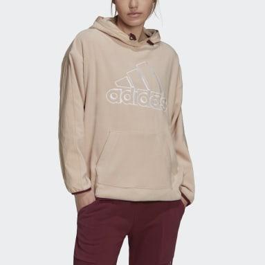 Sweat-shirt à capuche Brand Love Giant Logo Polar Fleece Rose Femmes Sportswear