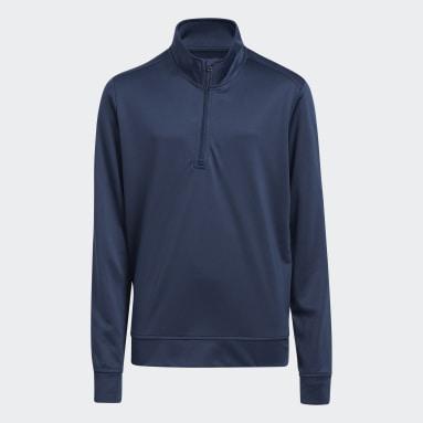 Pull Heather Quarter Zip Bleu Garçons Golf