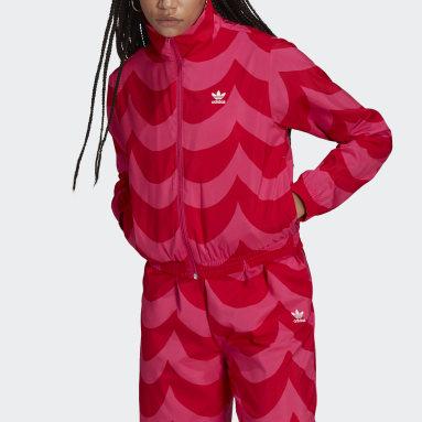 ผู้หญิง Originals สีแดง เสื้อแทรคแจ็คเก็ตผ้าทอ Marimekko