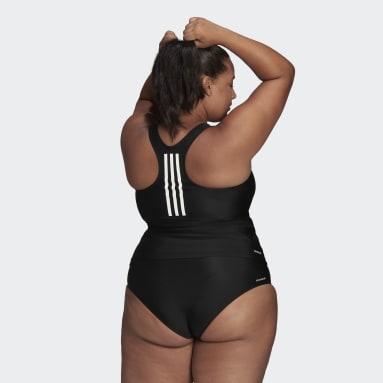 Kvinder Svømning Sort SH3.RO 3-Stripes Tankini Plus Size top