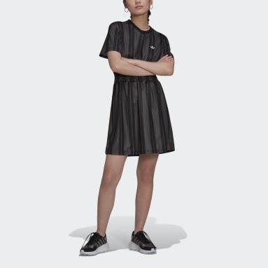 Kvinder Originals Grå Smocked Stripe kjole