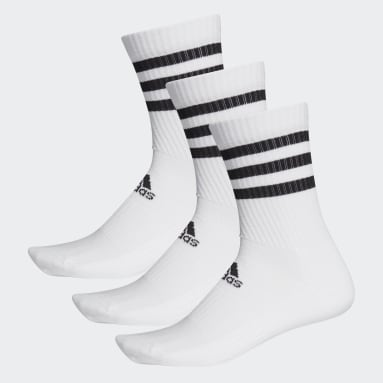 3-Stripes Cushioned Crew Socks 3 Pairs Bialy