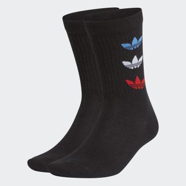 Originals Black Tricolor Thin Ribbed Crew Socks 2 Pairs