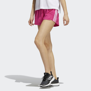 Women's Training Pink Pacer 3-Stripes Woven Shorts